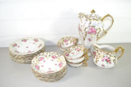 COFFEE SET COMPRISING COFFEE POT, JUG, VARIOUS SIDE PLATES, CUPS AND SAUCERS