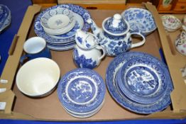 TRAY CONTAINING BLUE AND WHITE CERAMIC WARES