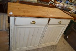 PAINTED WOOD SIDE CABINET OR DRESSER BASE, APPROX 137CM WIDE