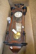 MAHOGANY CASED VIENNA STYLE WALL CLOCK, WIDTH APPROX 36CM MAX