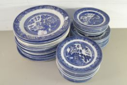 QTY OF BLUE AND WHITE CERAMICS, DINNER WARES BY WOODS