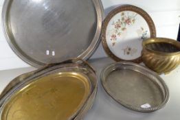 METAL WARES, PLATED SERVING TRAYS, BRASS JARDINIERE ETC