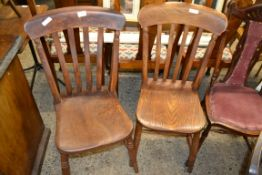 PAIR OF STICK BACK OAK DINING CHAIRS, APPROX 46CM WIDE