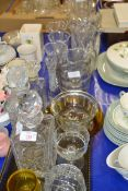 GLASS WARES, DECANTERS AND JUGS