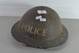 "VINTAGE WWII HELMET MARKED ""POLICE"""