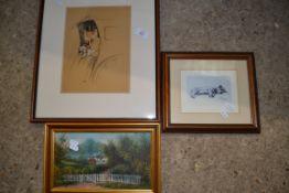 PRINT BY CECIL ALDIN CIRCA 1905, PLUS A FURTHER ALDIN PRINT AND SMALL PICTURE