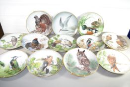 QTY OF COLLECTORS PLATES BY FRANKLIN FOR LIMOGES WITH BIRD STUDIES