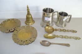 TWO PEWTER TANKARDS AND SOME BRASS ITEMS