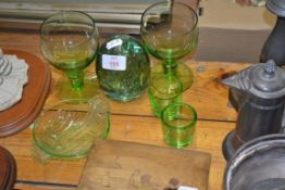 GREEN DUMP PAPERWEIGHT AND OTHER GREEN GLASS WARES