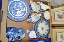 TRAY CONTAINING BLUE AND WHITE KITCHEN CERAMICS, PLATES, JUGS ETC