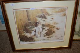LARGE FRAMED STEPHEN TOWNSEND DOG PRINT, WIDTH APPROX 81CM