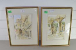 TWO WATERCOLOURS BY NORMAN BATES OF BUILDINGS