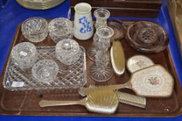 TRAY CONTAINING VARIOUS GLASS WARES, HAIR BRUSHES ETC