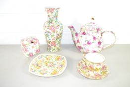 ROYAL WINTON TEA POT, SQUARE BOWL AND COVER AND CUP AND SAUCER IN FLORAL DESIGN