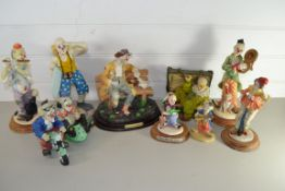 BOX CONTAINING CERAMIC CLOWN FIGURES, SOME FROM THE LEONARDO COLLECTION