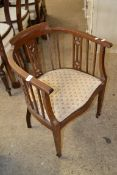 EDWARDIAN UPHOLSTERED TUB CHAIR WITH STRUNG DECORATION, WIDTH APPROX 54CM MAX