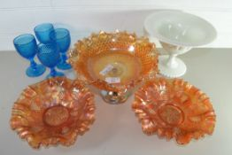 CRANBERRY WARES, PLATES WITH GRAPE AND LEAF DESIGN, FOUR BLUE COLOURED WINE GLASSES