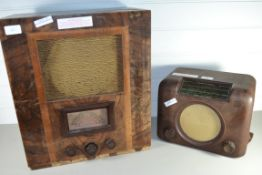 TWO VINTAGE RADIOS IN WOODEN CASES