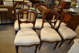 SET OF SIX 19TH CENTURY BAR BACK UPHOLSTERED DINING CHAIRS, EACH WIDTH APPROX 46CM