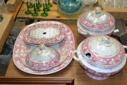 QTY OF CERAMICS, 19TH CENTURY IMPRESSED NEW STONE, INC TWO LARGE TUREENS WITH PINK FLORAL DESIGN,