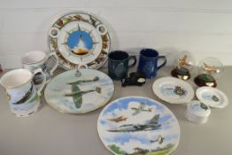 TWO MODELS, ONE OF A SPITFIRE, ONE OF A LANCASTER, TOGETHER WITH COMMEMORATIVE CERAMICS OF THE
