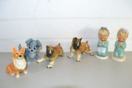 SERIES OF POTTERY FIGURES OF DOGS AND CHILDREN, THE CHILDREN BY GOEBEL