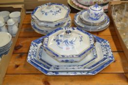 WILKINSON POTTERY DINNER WARES INCLUDING GRADUATED SET OF SERVING DISHES, TWO OCTAGONAL TUREENS,