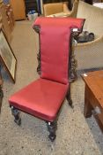 19TH CENTURY CARVED HARDWOOD HALL CHAIR, UPHOLSTERED, WIDTH APPROX 50CM