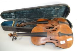 TWO VIOLINS AND CASE