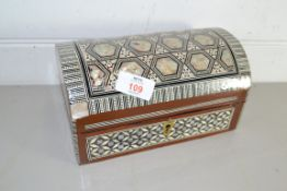 JEWELLERY BOX MODELLED AS A CASKET WITH INLAY