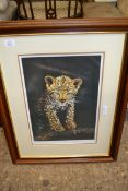 FRAMED STEPHEN TOWNSEND SIGNED PRINT OF A LEOPARD CUB, APPROX 55CM WIDE