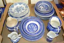 TRAY CONTAINING CERAMICS, BLUE AND WHITE WARES