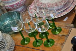 EIGHT WINE GLASSES WITH GREEN STEMS