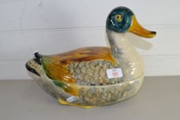 LARGE POTTERY TUREEN MODELLED AS A DUCK
