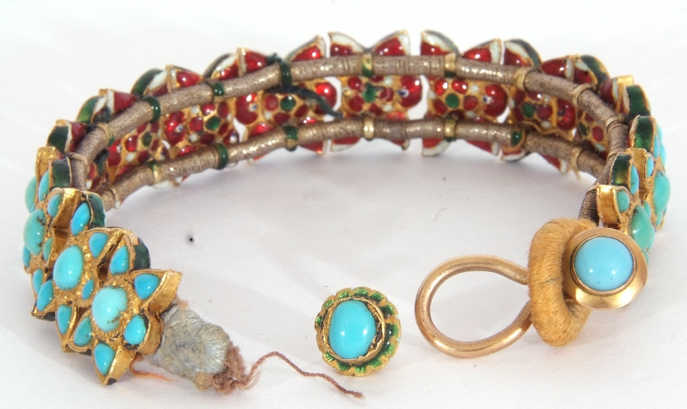 Probably Indian fabric backed yellow metal and turquoise star panelled bracelet, 15cm long (a/f) - Image 4 of 5