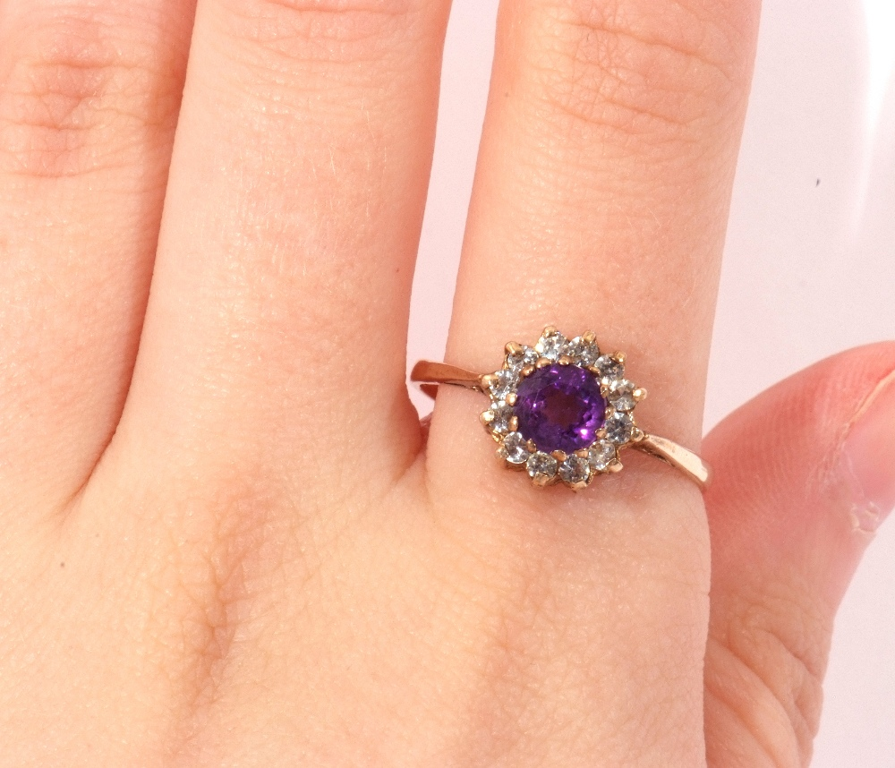 Modern 9ct gold amethyst and paste set cluster ring, size S - Image 10 of 10