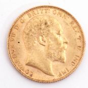 Edward gold sovereign dated 1910