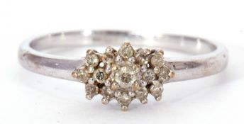 Modern 9ct white gold and diamond cluster ring, the diamond cluster with small single cut