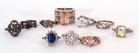 Mixed Lot: nine white metal dress rings and one other, g/w 51.4gms