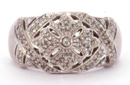 9ct white gold and diamond cluster ring, the openwork floral panel set throughout with small diamond