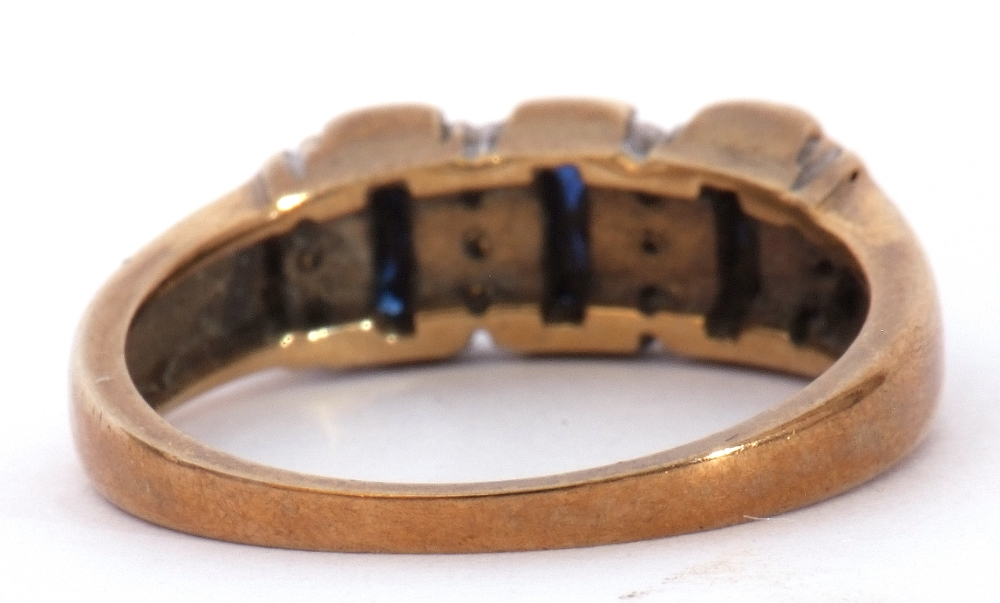 9ct gold, blue coloured stone and paste set ring, the design featuring three rectangular shaped - Image 4 of 7