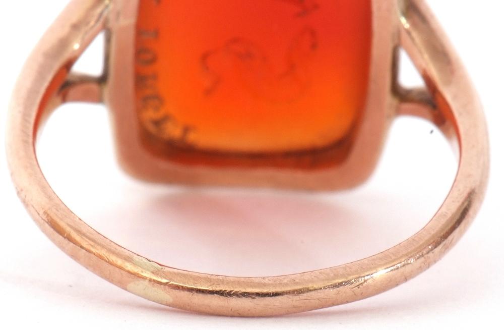 9ct stamped carnelian dress ring, the rectangular cut carnelian 18 x 12mm, bezel set and raised - Image 5 of 10