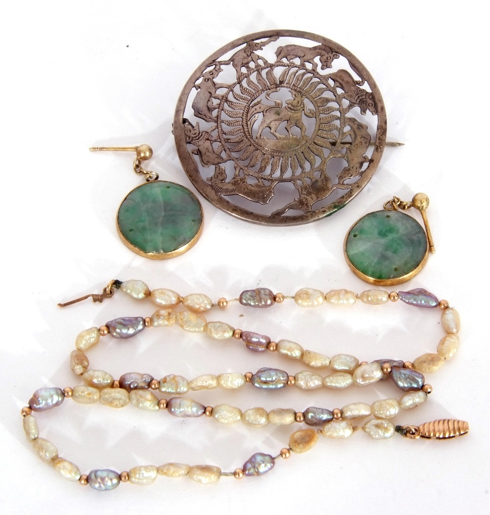 Mixed Lot: pair of carved jade disc earrings in gilt metal frames, a freshwater pearl necklace (