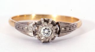 Antique single stone diamond ring, the round brilliant cut diamond 0.15ct approx, four claw set in a