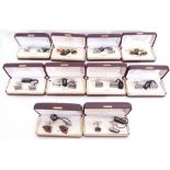 Mixed Lot: ten cased gents cuff links to include playing cards