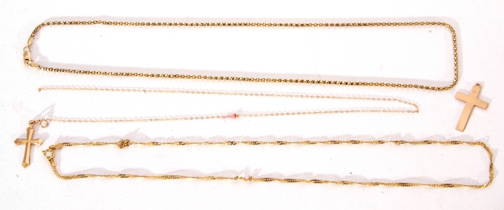 Mixed Lot: 2 9ct gold cross pendants, one suspended from a 9ct stamped fine trace chain, 2.2gms, - Image 2 of 2