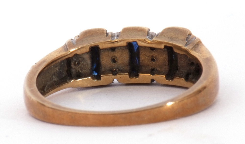 9ct gold, blue coloured stone and paste set ring, the design featuring three rectangular shaped - Image 3 of 7