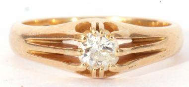 18ct gold single stone diamond ring featuring a round brilliant cut diamond, 0.40ct approx, raised