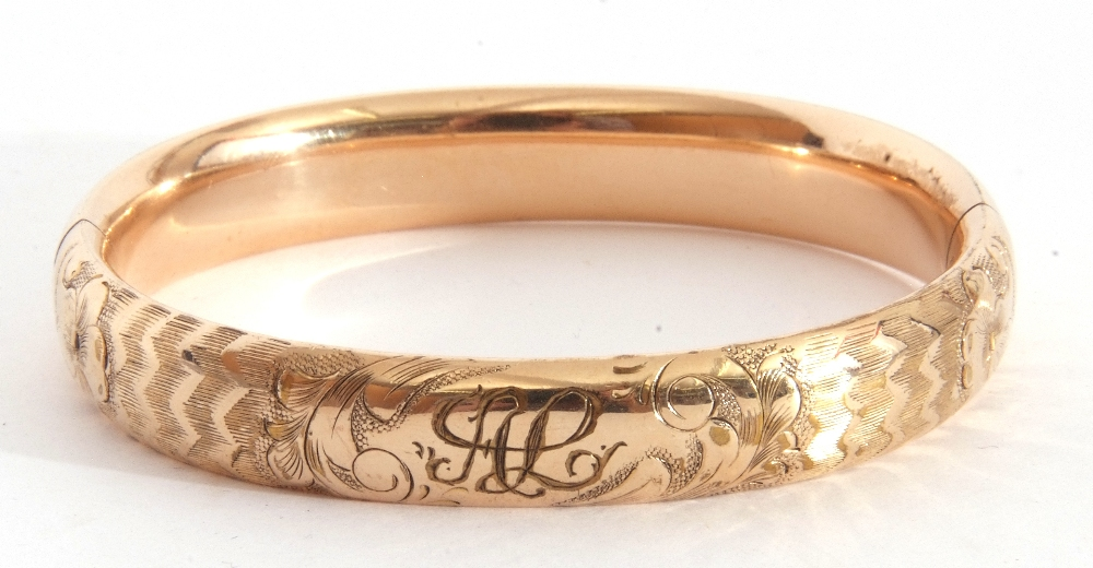 Gold plated hinged bracelet, part chased and engraved, inside diam 5.5 x 6cm - Image 2 of 5
