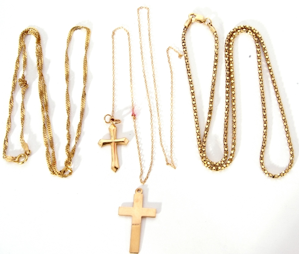 Mixed Lot: 2 9ct gold cross pendants, one suspended from a 9ct stamped fine trace chain, 2.2gms,